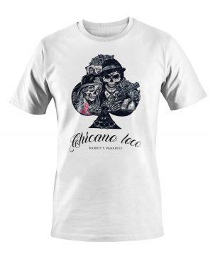 Kratka majica s potiskom Chicana loca križ.